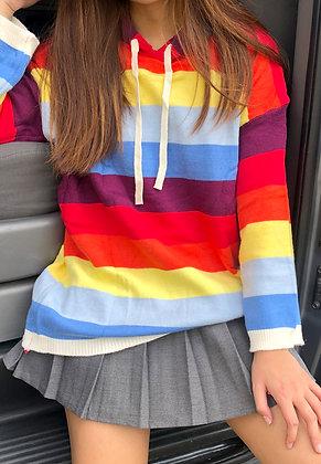 Rainbow Knitted Hoodie