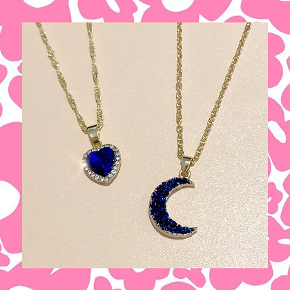 Sapphire Moon Heart Necklace