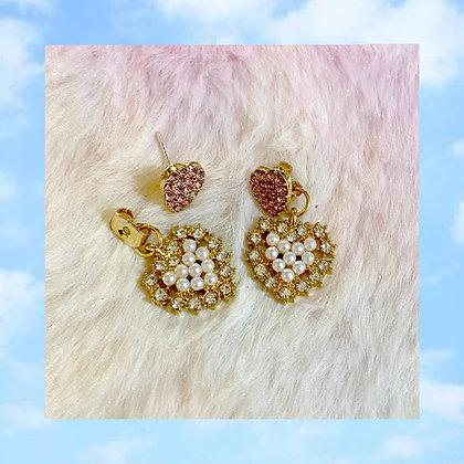 Crystal Pearl Heart Earrings