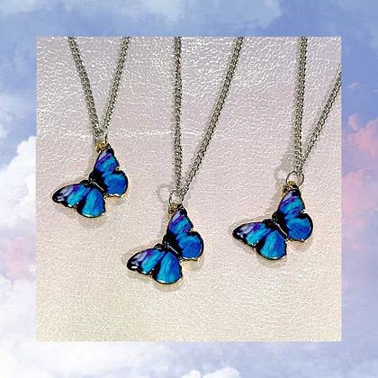 Blue Tie Dye Butterfly Necklace