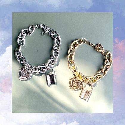 Padlock and Heart Bracelet