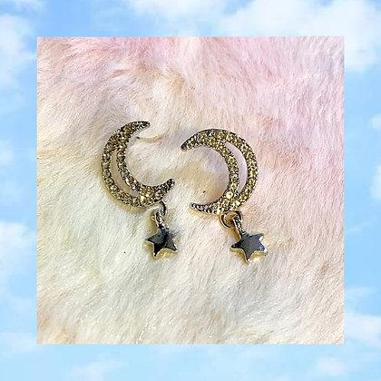 Crystal Crescent Moon Star Earrings