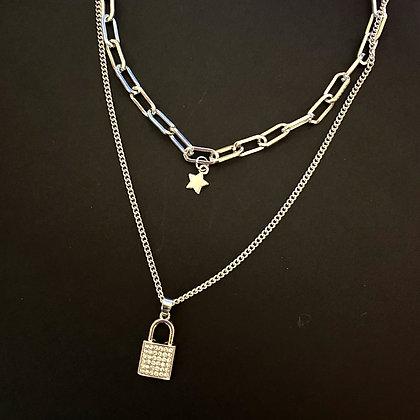 Star Studded Padlock Necklace