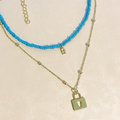 Double Bead Padlock Necklace