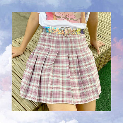 Pink Plaid Schoolgirl Skirt
