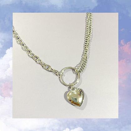 Triple Chain Heart Necklace