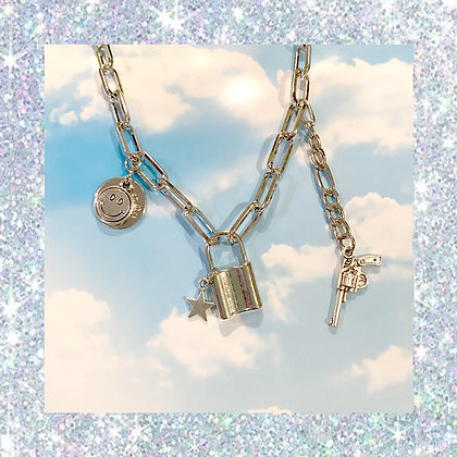 Padlock Smiley Chain Necklace