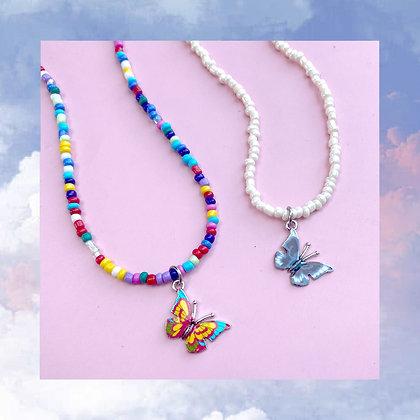 Tie Dye Butterfly Beads Necklace