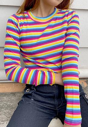 Rainbow Ribbed L/S
