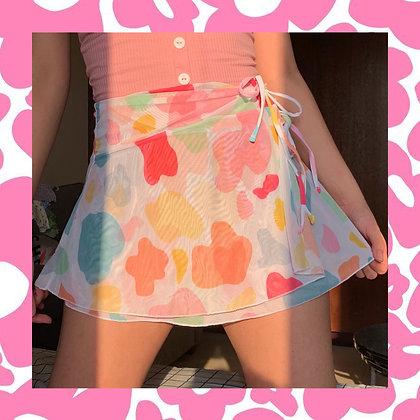 Colorful Cow Mesh Skirt