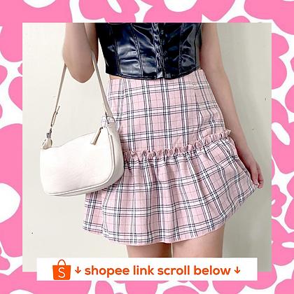 Pink Plaid Ruffle Skirt