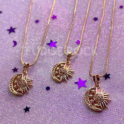 Moon Stars Sun Necklace