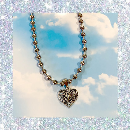 Butterfly Heart Ball Chain Necklace