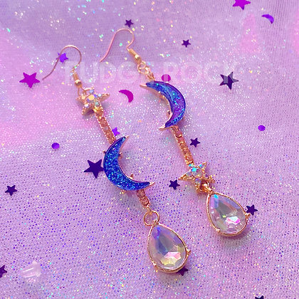 Royal Blue Moon Shine Earrings