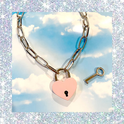Pink Heart Padlock Necklace