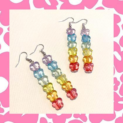 Long Rainbow Butterfly Earrings