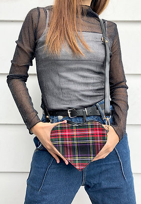 Plaid Heart Sling Bag
