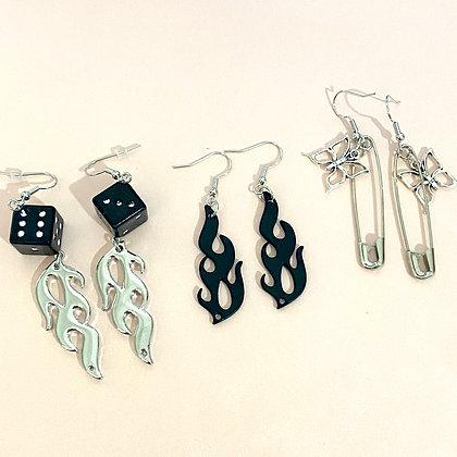 Flames Butterfly Pin Dice Earrings