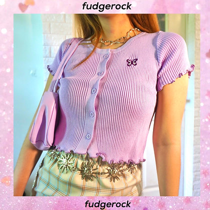 Betty Butterfly knit button down top