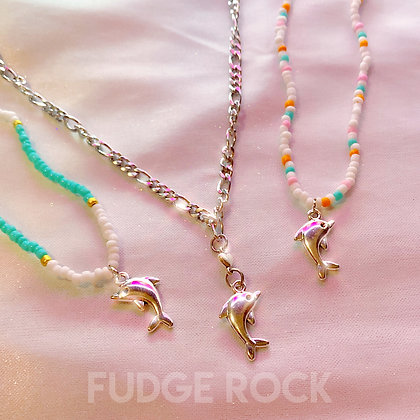 Y2K Dolphin Island Beaded Necklace
