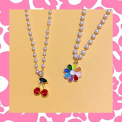 Daisy Cherry Pearl Necklace