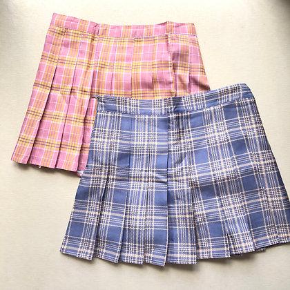 Plaid Pleated Skater Skirt