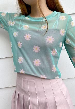 Mint Daisy Mesh L/S