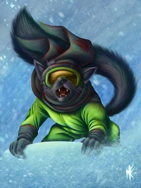 некот Тибо катается с горы