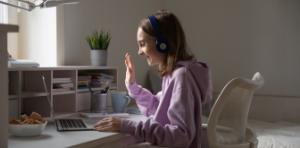 girl having fun in virtual camp
