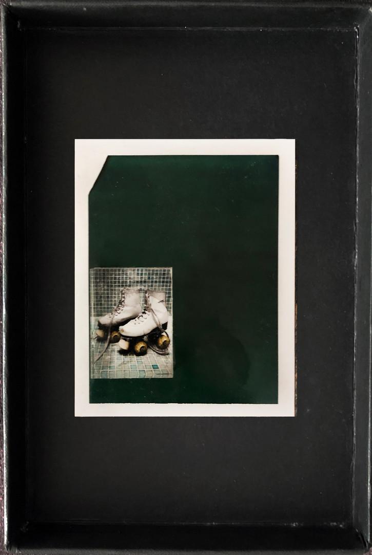 """Series X-Pola """"Skates"""" 2019 8/10cm mounted Plexiglass on Polaroid Edition 1/1 NIS 1,000 per object"""