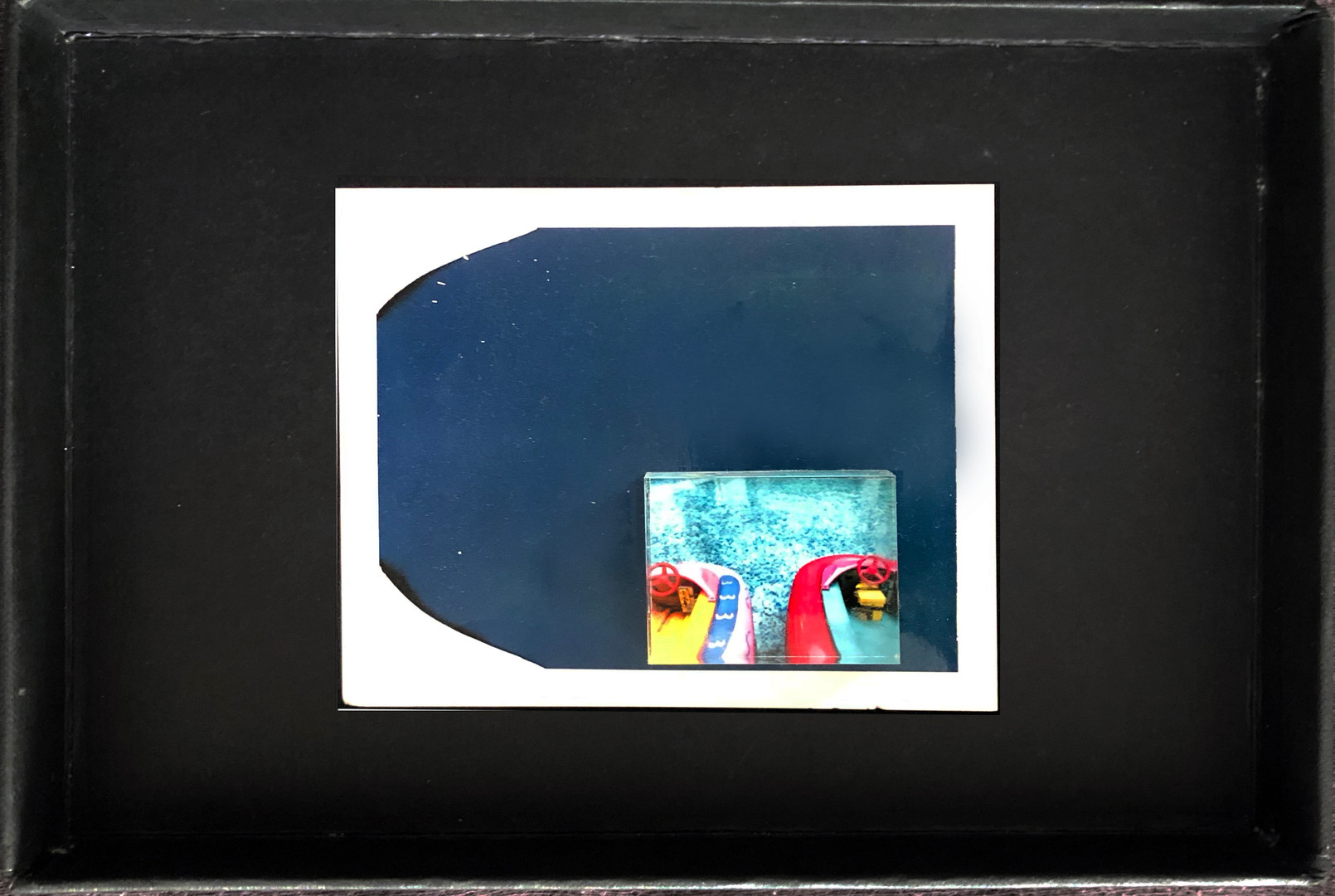 """Series X-Pola """"Rubber boats"""" 2019 8/10cm mounted Plexiglass on Polaroid Edition 1/1 NIS 1,000 per object Sold out"""