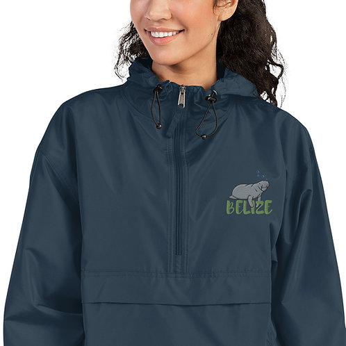 Belize Manatee Embroidered Champion Packable Jacket