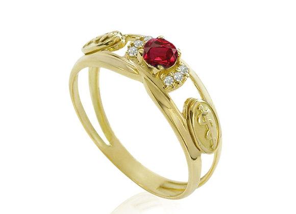 Anel Ouro Amarelo 18k com Rubie Brilhantes