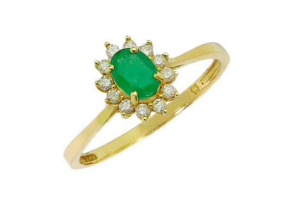 Anel  Ouro amarelo, Brilhantes e Esmeralda - Coleção Lady
