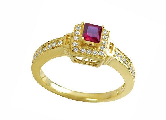 Anel ouro amarelo com rubi e brilhantes