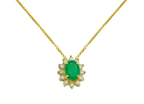 Colar Ouro  amarelo , Brilhantes  e  Esmeralda - Coleção Lady