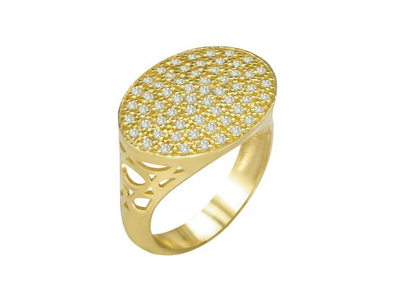 Anel Ouro Amarelo Ouro Branco e Brilhantes.