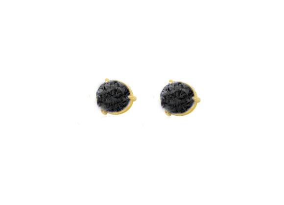 Brinco Ouro Amarelo e zirc-cristalizada na cor Preta  - Coleção Energia