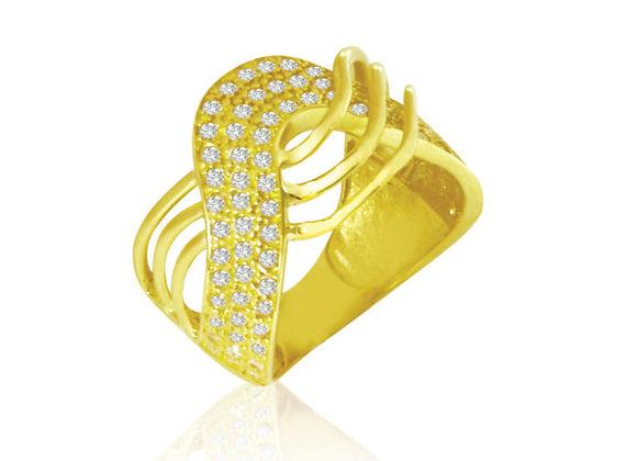 Anel Ouro Amarelo Ouro e Brilhantes