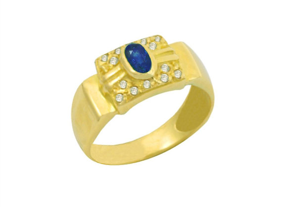 Anel  Ouro Amarelo 18k com Safira