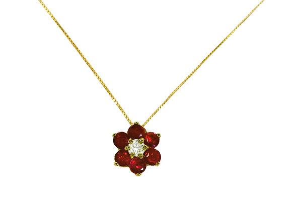 Colar Ouro amarelo, Brilhante e Rubi -Coleção Flowers