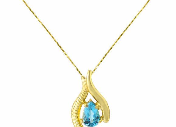 Colar  Ouro Amarelo 18kts e Topázio Azul - Coleção Folium