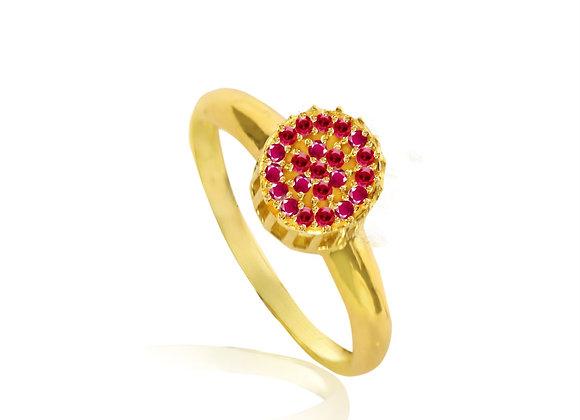 Anel Ouro Amarelo Rubi - Safira - ou Esmeralda Coleção Sofia