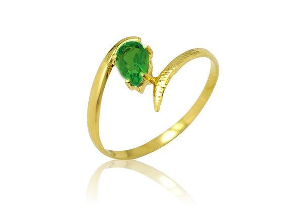 Anel em Ouro Amarelo e Topázio Verde - Coleção Folium