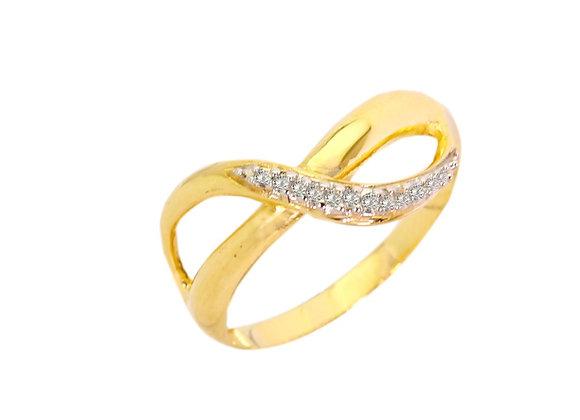 Anel Infinito em Ouro Amarelo  e Brilhante