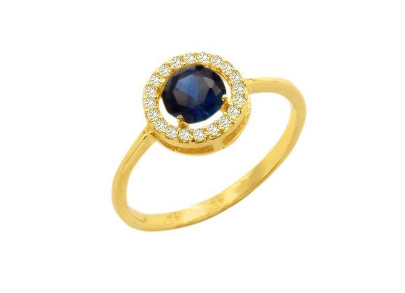 Anel ouro amarelo e zirc-cristalizada nas cores brilhante e safira