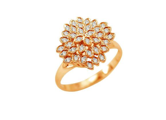 Anel em Ouro Rosé e Brilhante - Coleção Folhas
