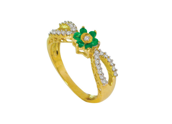 Anel ouro amarelo com esmeralda e brilhantes
