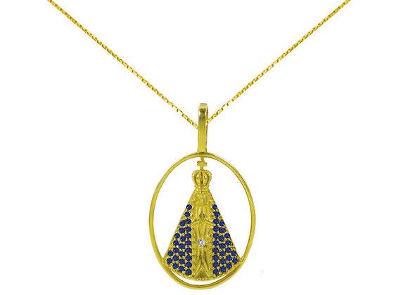 Pingente Ouro Amarelo e Safira - Nossa Senhora Aparecida