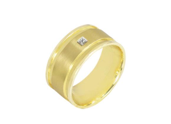 Aliança  em ouro amarelo 18kts e brilhantes
